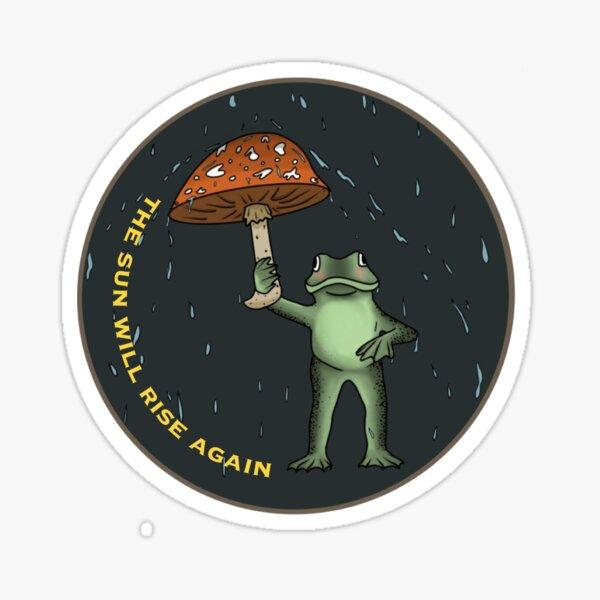 rainy frog with a mushroom umbrella  Sticker