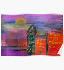 Abstract - Acrylic - Lost in the city Poster