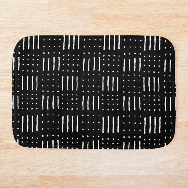 African Pattern - Stripes and Dots in Black and White Bath Mat