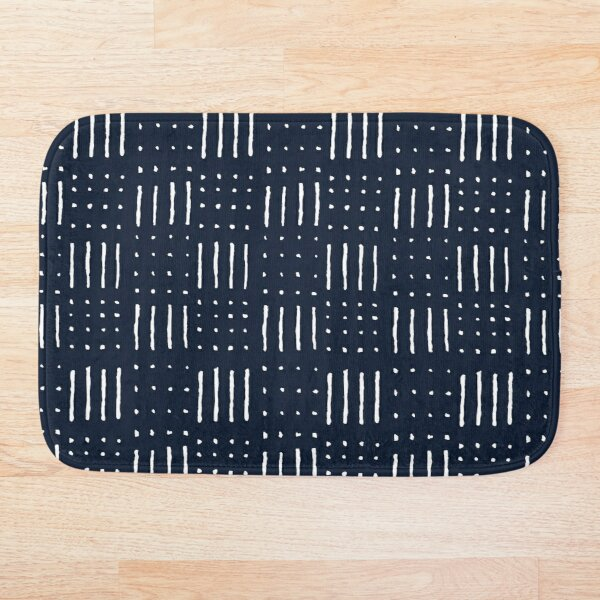 African Pattern - stripes and dots - dark blue Bath Mat