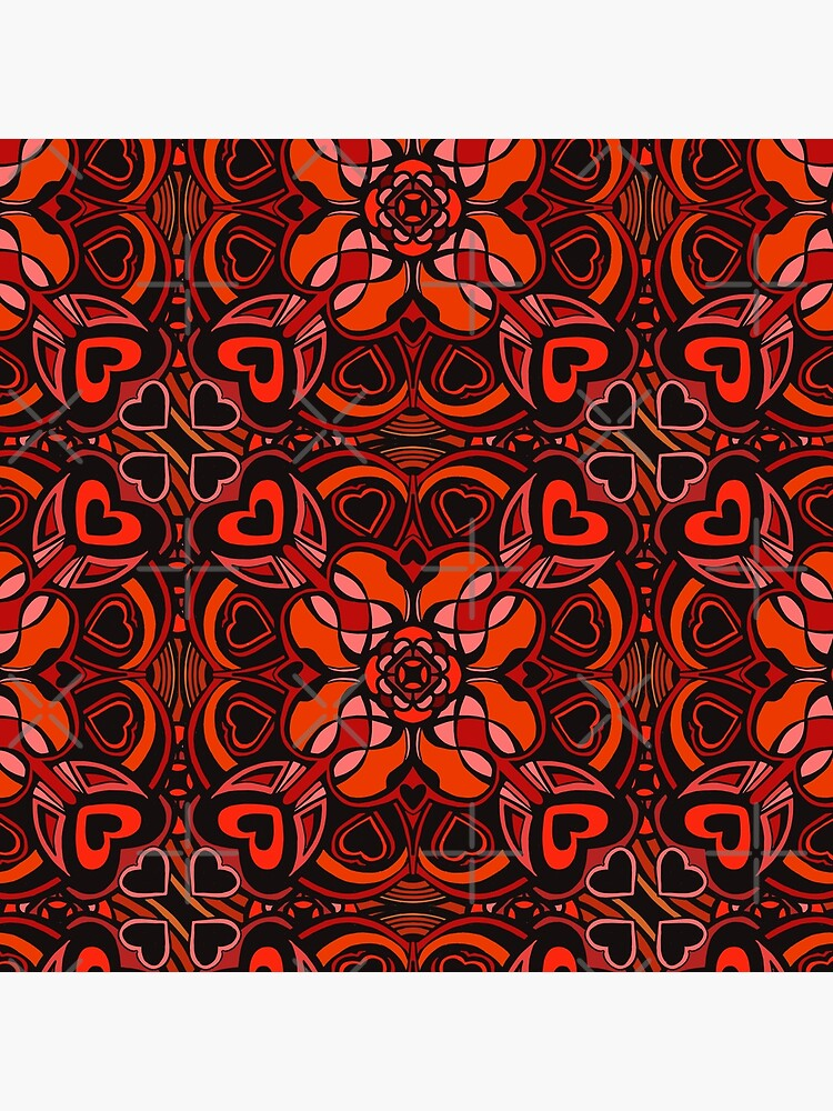 Red Hearts Mandala - Red & Black Palette by sketchbookjo