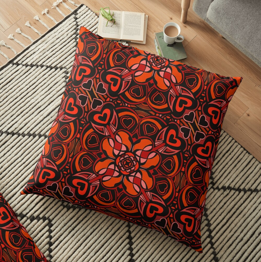 Red Hearts Mandala - Red & Black Palette Floor Pillow