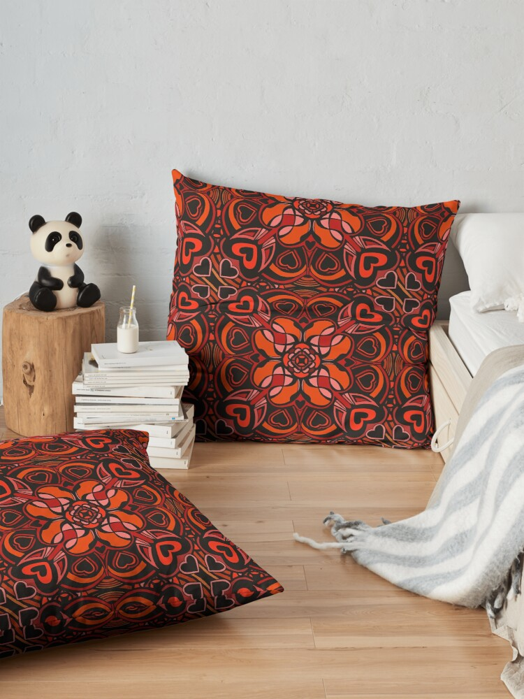 Alternate view of Red Hearts Mandala - Red & Black Palette Floor Pillow