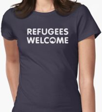Refugees Welcome Australia (White) Women's Fitted T-Shirt