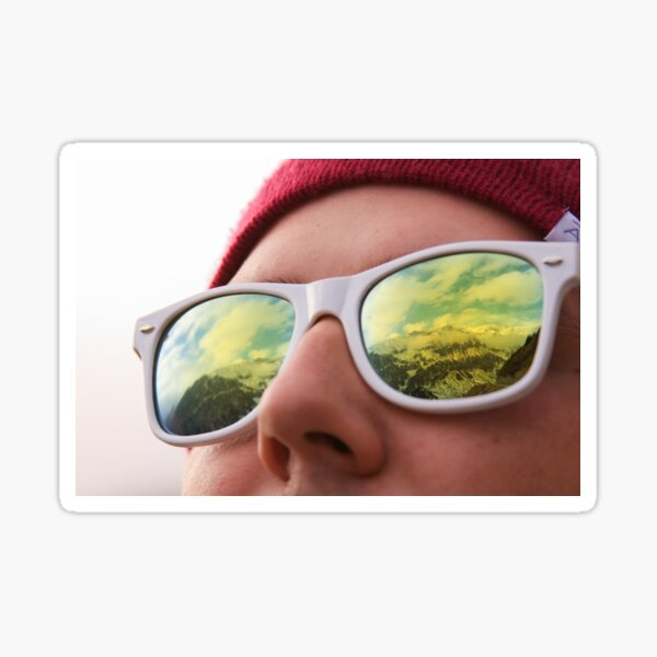 Mountains reflected in sunglasses Sticker
