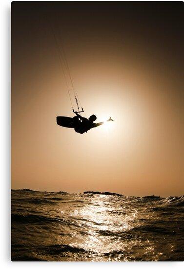 Kitesurfing at sunset by PhotoStock-Isra