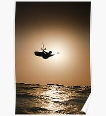 Kitesurfing at sunset Poster