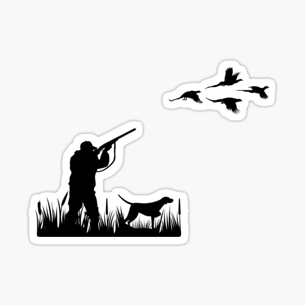 Pheasant hunter with dog Sticker