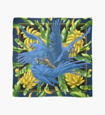 Hyacinth Macaws and Bananas Stravaganza (black background) Scarf
