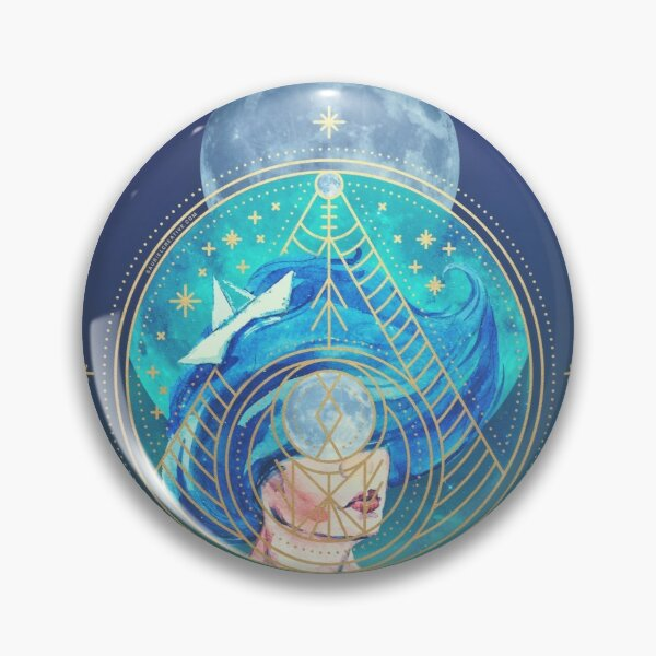 Aquarius Zodiac Moon Goddess watercolour art Pin