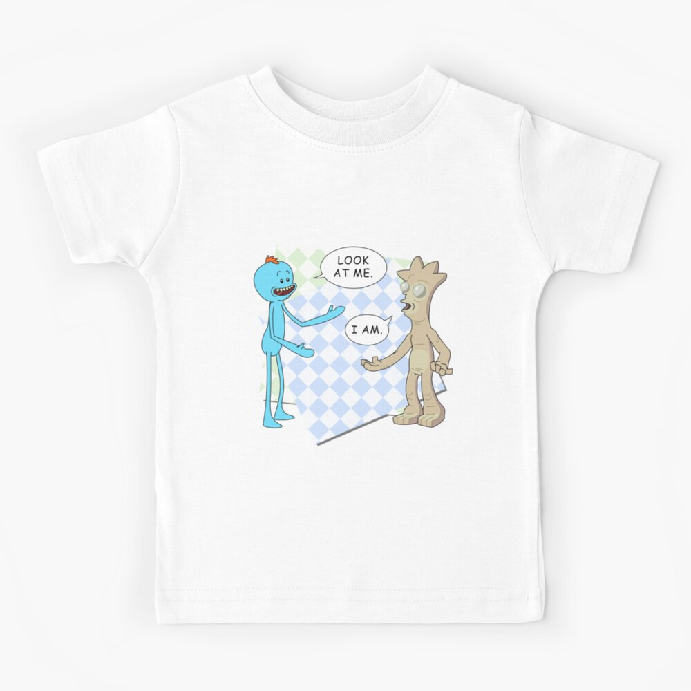Rick and Morty's Mr. Meeseeks meets Gaia's child. Dark variant. Kids T-Shirt