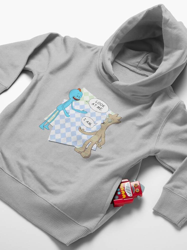 Alternate view of Rick and Morty's Mr. Meeseeks meets Gaia's child. Dark variant. Toddler Pullover Hoodie