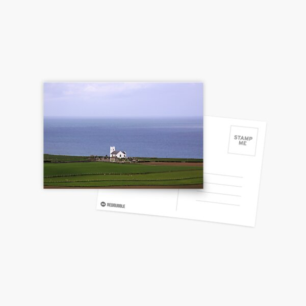 White church on the Irish sea shore landscape Postcard