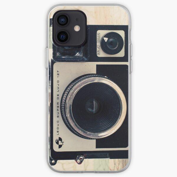 Retro - Vintage Pastel Camera on Beige Pattern Map Background iPhone Soft Case