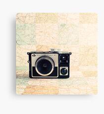Retro - Vintage Pastel Camera on Beige Pattern Map Background Canvas Print