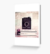 Retro - Vintage Black Camera on Beige Background and books  Greeting Card