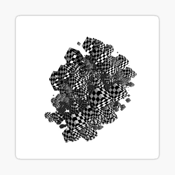Geometric cubes in black and white check pattern. Sticker
