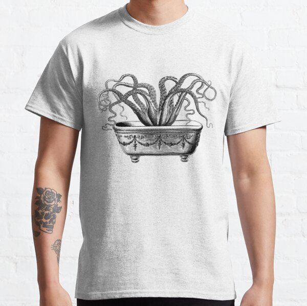 Tentacles in the Tub   Octopus in Bathtub   Vintage Octopus   Black and White    Classic T-Shirt