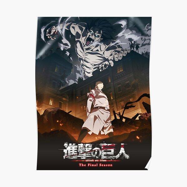 Shingeki no Kyojin) ist eine japanische Dark-Fantasy-Anime-Fernsehserie, die von Hajime Isayama aus dem gleichnamigen Manga adaptiert wurde. Es spielt in einer Welt, in der die Menschheit in Städten lebt, die aufgrund der Titanen von riesigen Mauern umge Poster