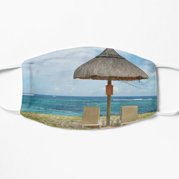 Tropical beach lounge chairs and umbrella Mask
