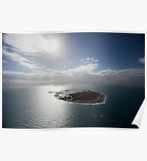 Aerial view of Snapper Island, Queensland, Australia with white cloud formations and blue ocean Poster