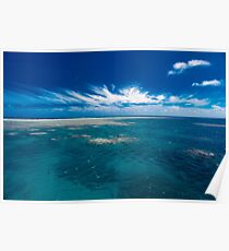 White cloud formations and blue ocean with reef, Australia Poster