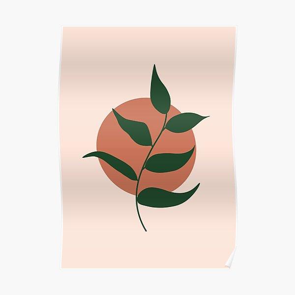 Boho terracota leaf art Poster