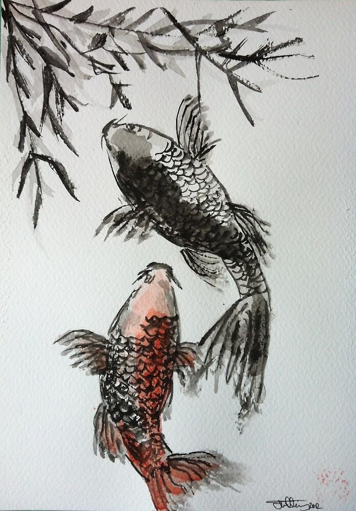 Japanese style Sumi-e Koi Carp Watercolour Painting by joelwilluk