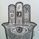 Hamsa Hand Pencil Sketch by joelwilluk