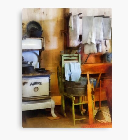 Laundry Drying in Kitchen Canvas Print