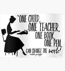 Citation des enseignants - Malala Yousafzai Poster