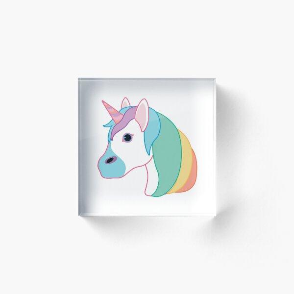 Rainbow Unicorn Emoji Acrylic Block