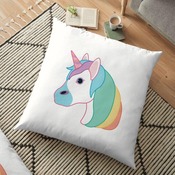 Rainbow Unicorn Emoji Floor Pillow