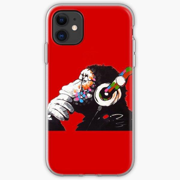 Banksy - Mono con auriculares Funda blanda para iPhone