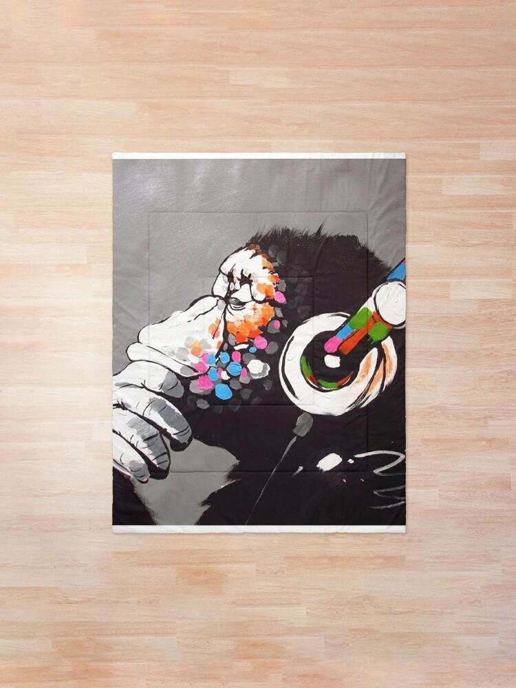 Alternate view of Banksy - Monkey with Headphones  Comforter
