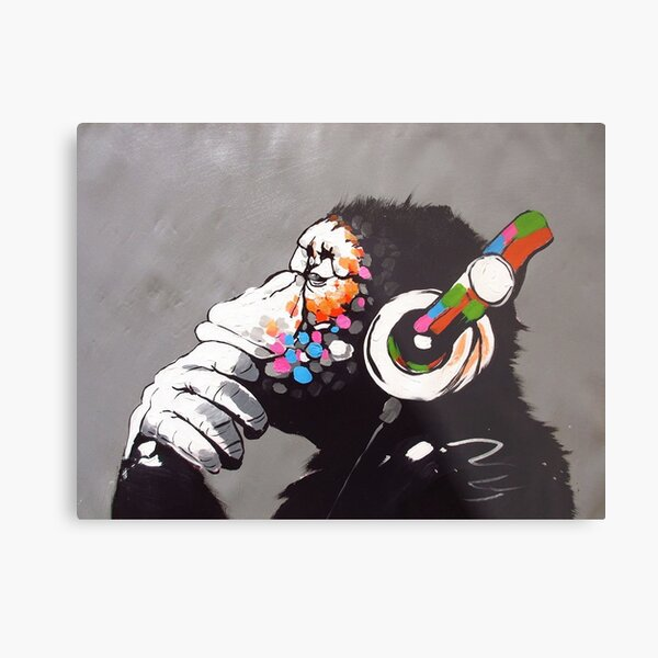 Banksy - Monkey with Headphones  Metal Print