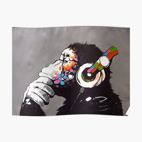 Banksy - Monkey with Headphones  Poster
