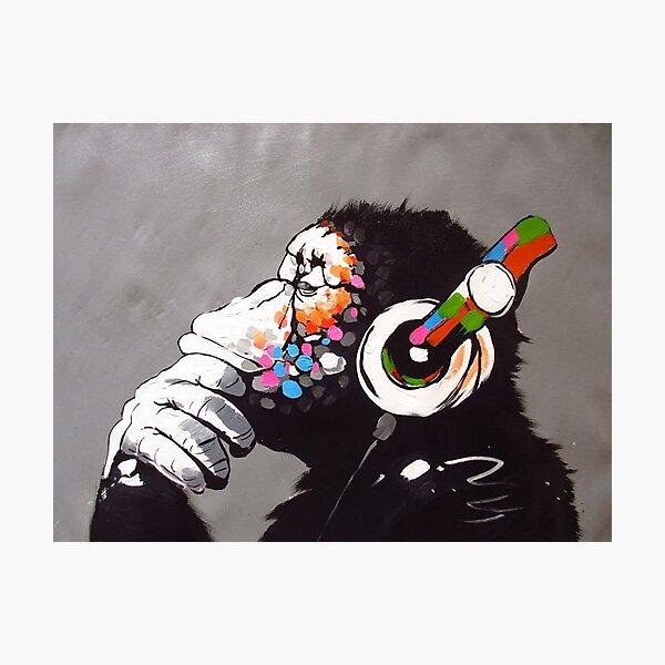Banksy - Monkey with Headphones  Photographic Print