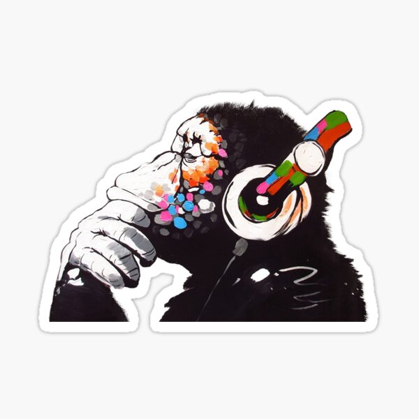Banksy - Monkey with Headphones  Sticker