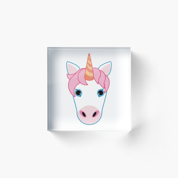 Pink Unicorn Emoji Acrylic Block