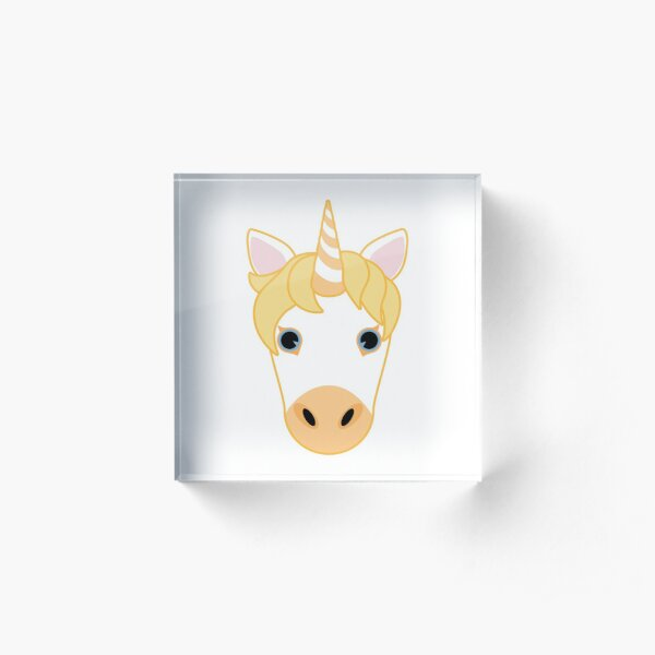 Yellow Unicorn Emoji Acrylic Block