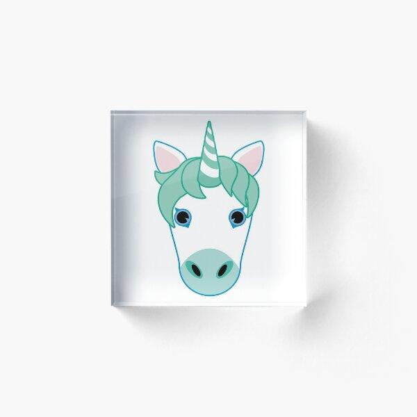Green Unicorn Emoji Acrylic Block