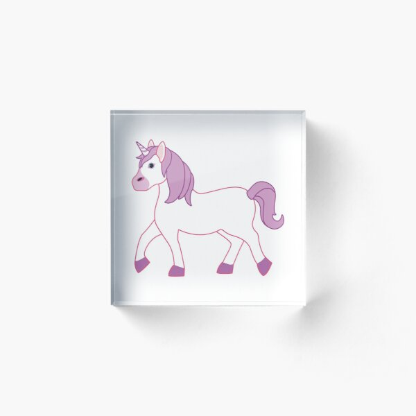 Purple Unicorn Emoji Acrylic Block