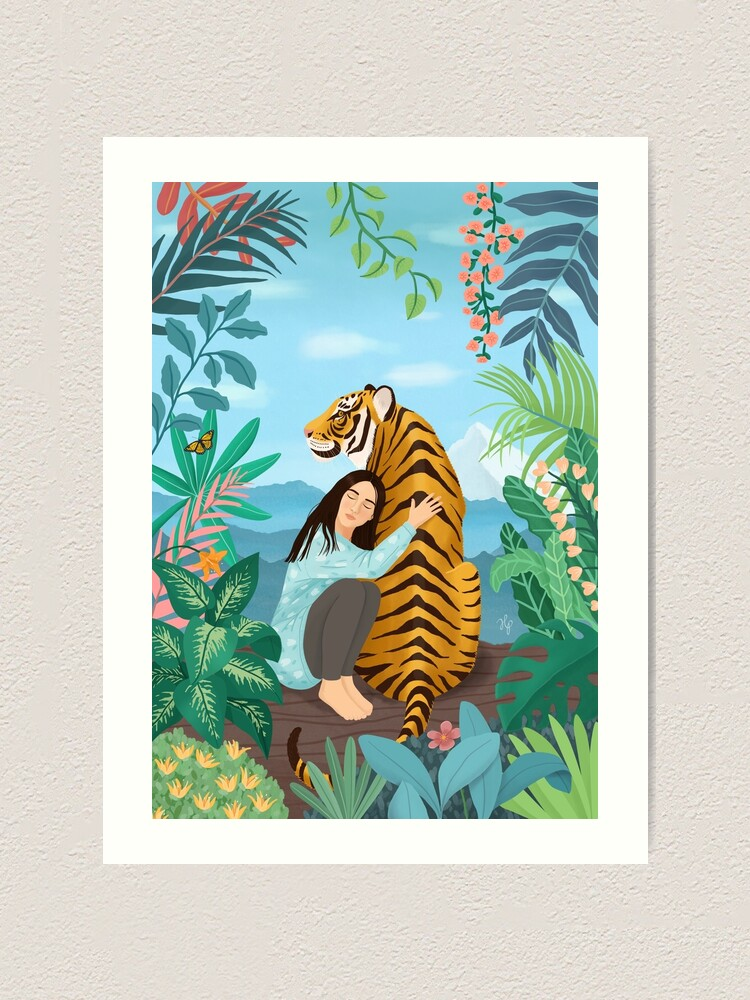 Alternate view of Girl with a Tiger Art Print