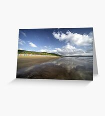 Woolacombe beach reflections Greeting Card