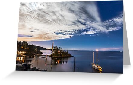 Moonlight over Eagle Harbour  by Jim Stiles