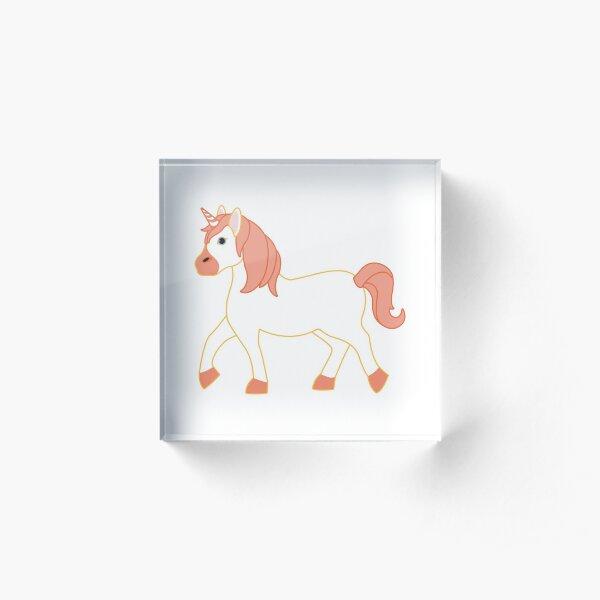 Orange Unicorn Emoji Acrylic Block