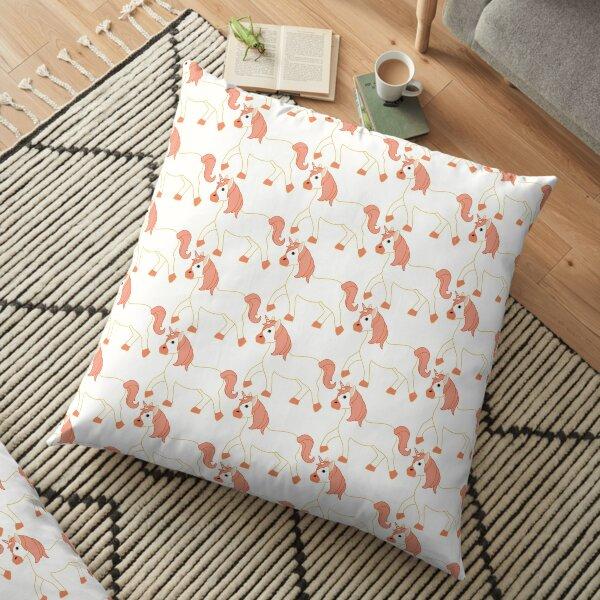 Orange Unicorn Emoji Floor Pillow