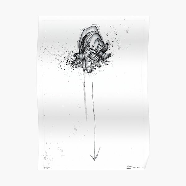 Fear (Hearts drawing series) Poster