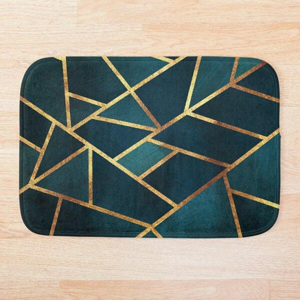 Midnight Green Gold Stone Geometric Bath Mat